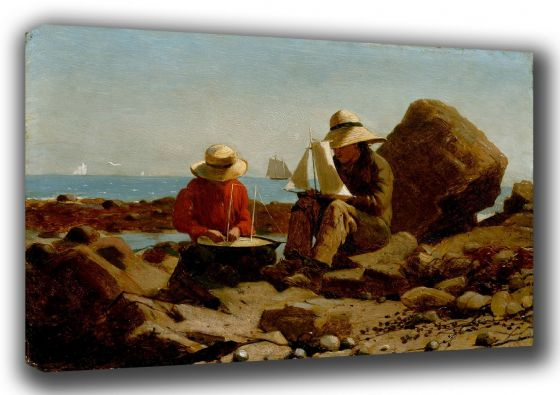 Homer, Winslow: The Boat Builders. Coastal Fine Art Canvas. Sizes: A3/A2/A1. (003466)